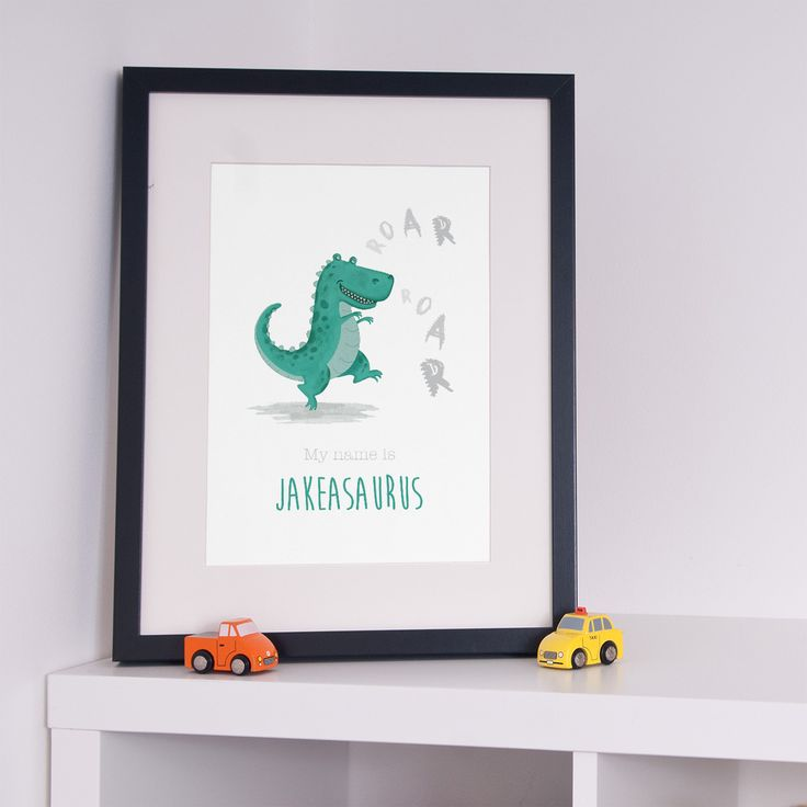 Personalised TREX Dinosaur Poster  nursery wall decor idea