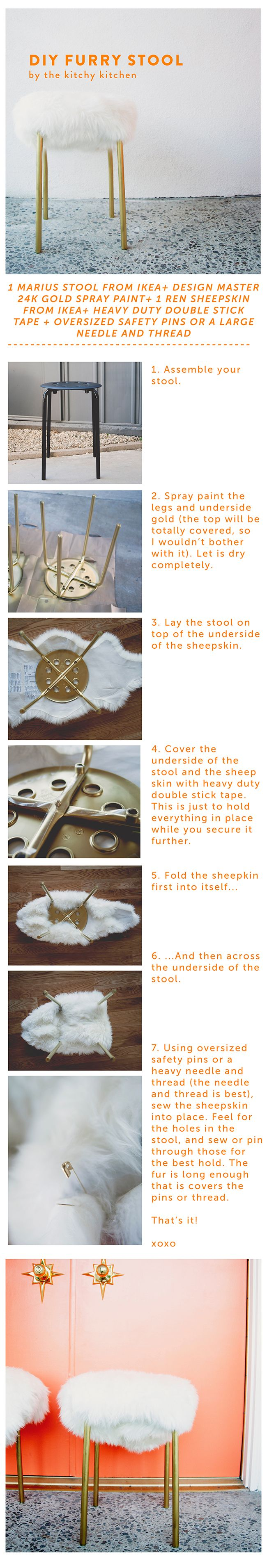 DIY Faux Fur Stool Tutorial