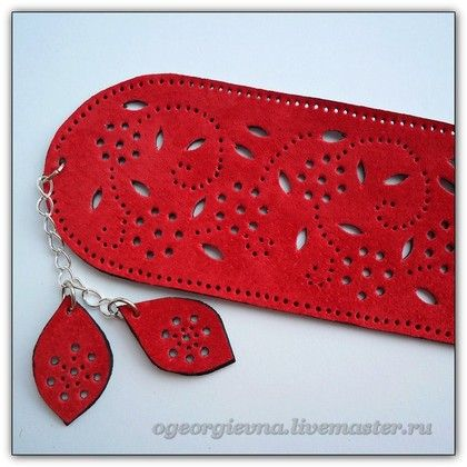 Браслеты ручной работы. Ярмарка Мастеров - ручная работа Красный замшевый браслет  - 119. Handmade.