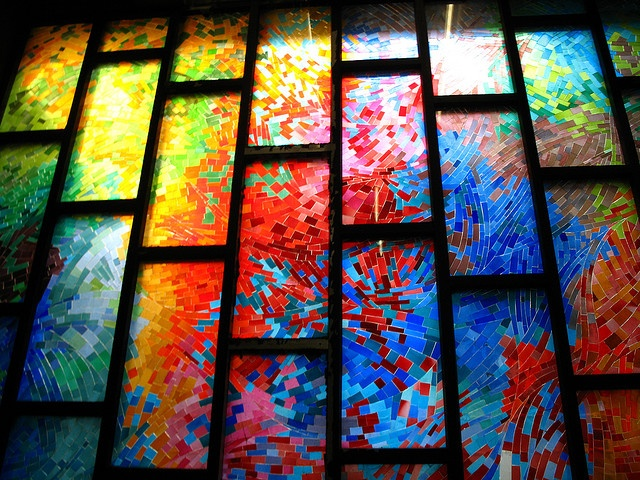 stained glass artwork - at Charlevoix station - designed by Ayotte et Bergeron