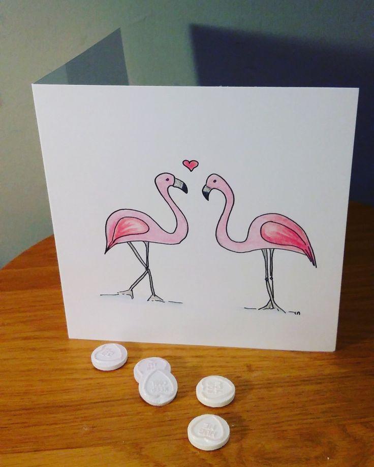 Flamingos, valentine's day card, love card, valentine by CharlotteadcockArt on Etsy