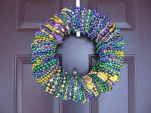 More crafting with Mardi Gras beads. This wreath is so pretty! There are others on the site in one color, and those are gorgeous, too.