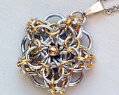 Gold & Silver Celtic Chainmaille Pendant with Gold Center Bead by AnntasticJewelry