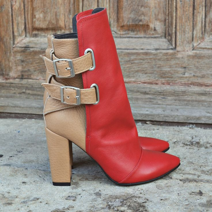 Red & Nude Perfect Match  #the5thelementshoes #rosettishowroom #nude #red #leather #boots