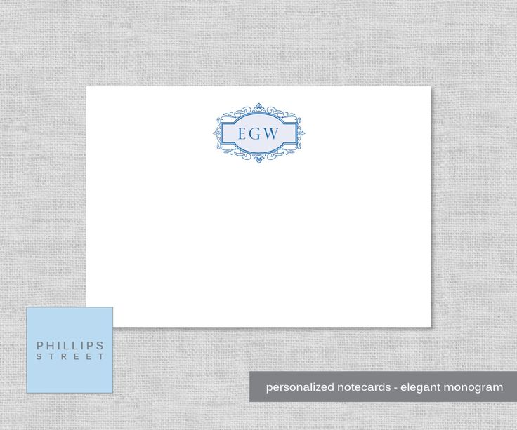personalized note cards - elegant monogram - personalized - monogram stationery - monogrammed - stationary - wee notes - SET OF 10 by phillipsstreet on Etsy
