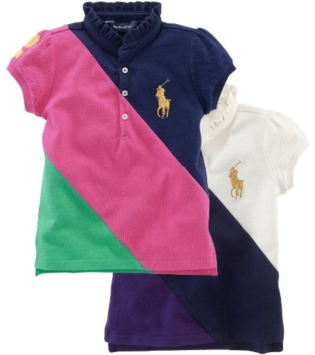 Ralph Lauren Toddler Girl`s Diagonal Pieced Ruffle Collar Polo for only  $40.00 You save