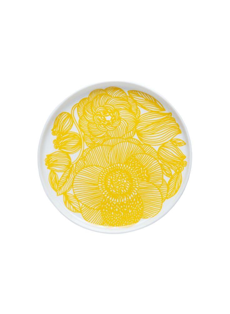 Oiva/Kurjenpolvi-lautanen (valkoinen, keltainen) | Sisustustuotteet, Keittiö, Posliinit, Lautaset | Marimekko