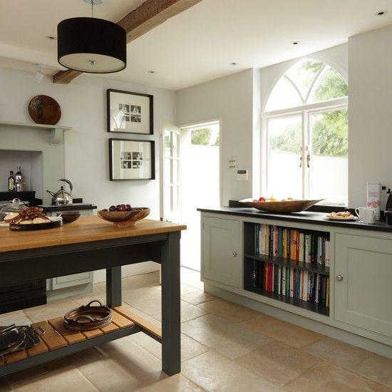 Pale pewter kitchen.