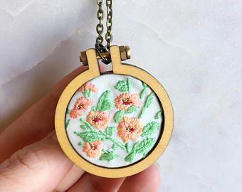 Bordado de naranja bordado aro collar, collar, collar de aro de mini, diseños de bordado de flores, regalo para ella, para las mujeres