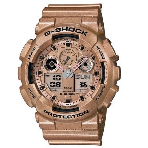 Casio G-Shock rose gold tone ana/digi watch GA-100GD-9AER RRP £110 Our Price £70