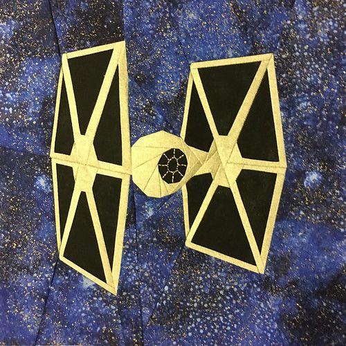 """Star Wars Tie Fighter paper pieced 10"""" quilt block designed for fandominstitches.com's #starwarsquiltchallenge"""