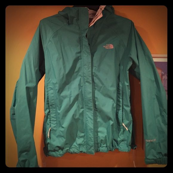 North Face women's rain coat Teal color, in perfect condition. North Face Jackets & Coats