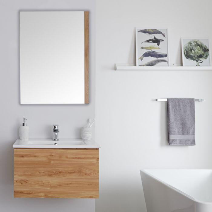 Milano Oxley Golden Oak 600mm Wall Hung Vanity Unit With Basin Wall Hung Vanity Basin Vanity Unit Vanity Units Bathroom modern vanity units milano