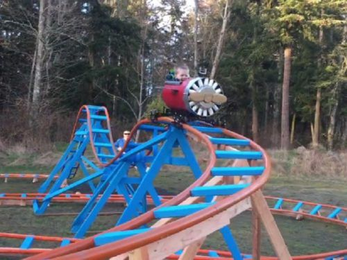 This toddler got his own backyard roller coaster, and ugh ...