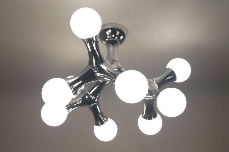 plafondlamp 67069: modern, metaal, chroom, glas, wit opaalglas, rond, langwerpig ...