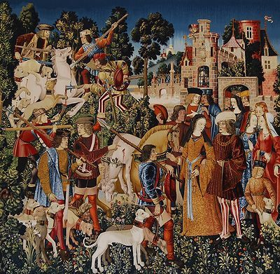 """""""The Unicorn is Killed and Brought to the Castle"""" Cloisters Museum, 1495-1505. Wrap dresses ( or just v-necked over dresses) with hanging sleeves."""