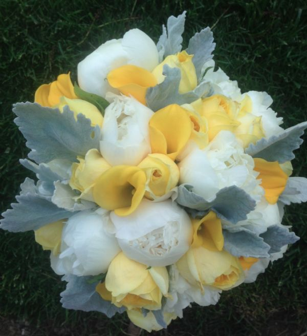 Yellow, white and grey bridal bouquet | *|A Bouquet Affair ...