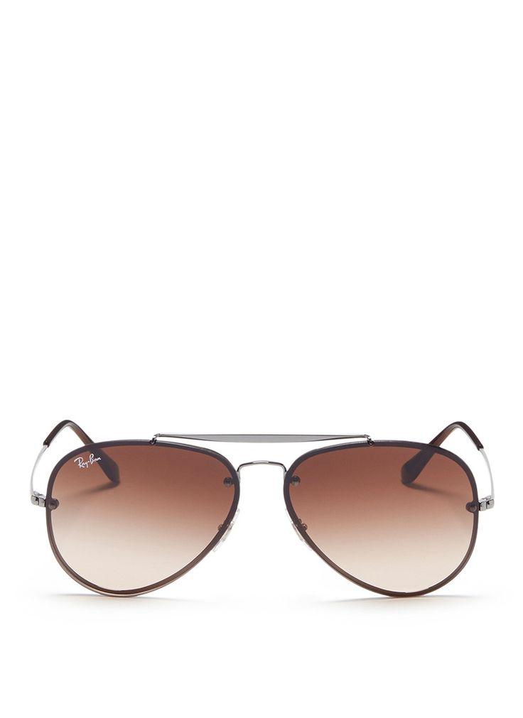 RAY BAN 'Blaze' metal aviator sunglasses. #rayban #