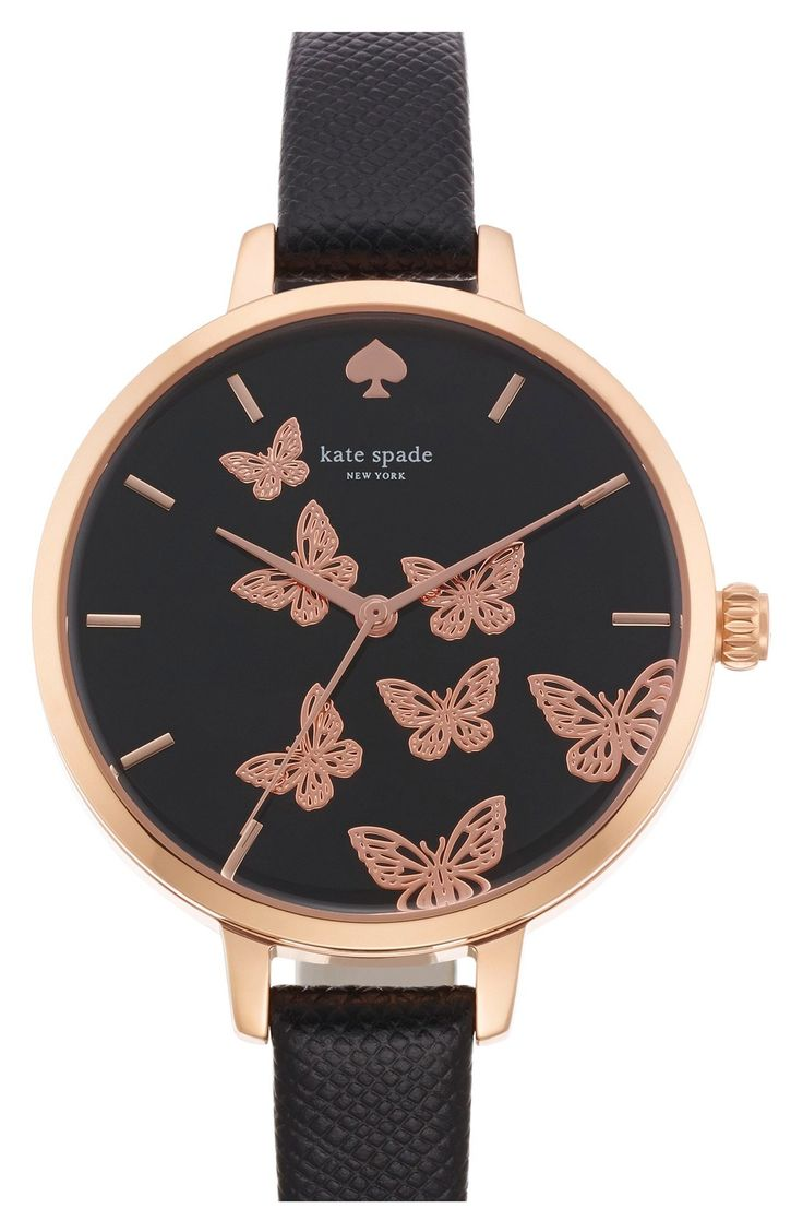 Whimsical butterflies flutter across the dial of this elegant black and rose gold Kate Spade watch.