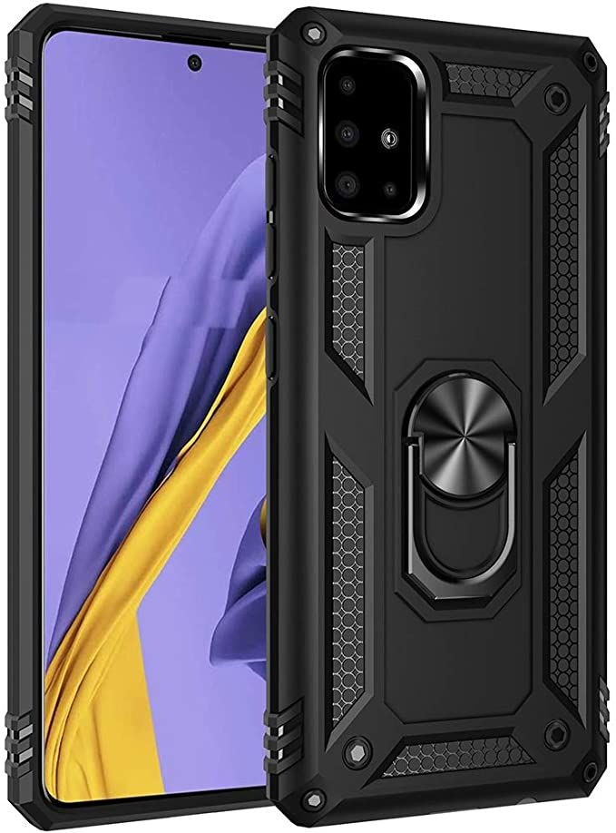 Amazon Com Military Grade Drop Impact For Samsung Galaxy A51 Case Galaxy M40s Case 360 Metal Rotating Ring Kicks In 2020 Black Phone Case Magnetic Car Mount Kickstand