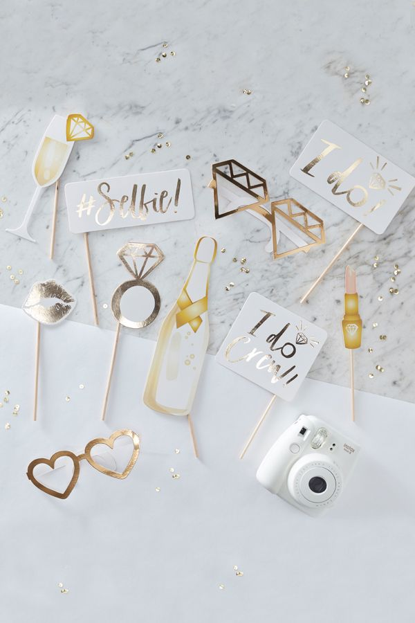 Bachelorette 2019 Stick Ideas Fun Wedding Photo Booth Props on a Stick   Gold Foil in 2019