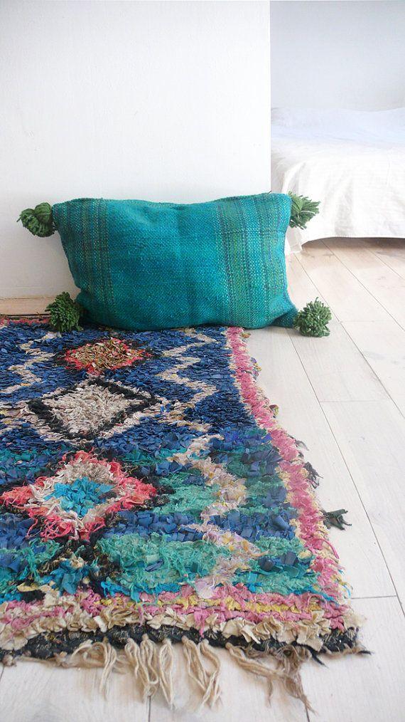 Moroccan POM POM Wool Pillow Cover Blueish-green por lacasadecoto