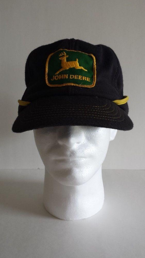 JOHN DEERE 70s 80s Earflaps Neck Flap Black Yellow Hat Cap PATCH Vintage   HatCap  8d73c980841