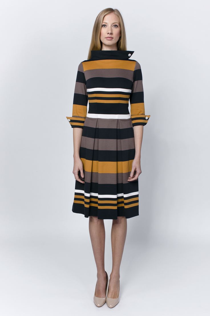 Ageless mix of warm colors - essential for everyday Earth Godesses. http://laccafashion.com/collections/dresses/products/striped-pleated-dress-mustard