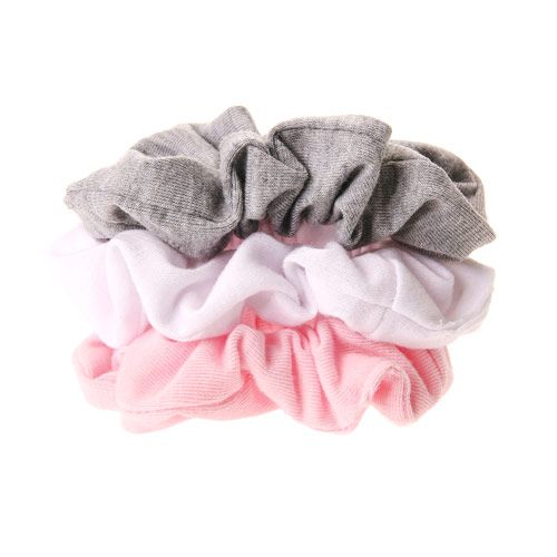 3 Pack Pink, White and Grey Hair Scrunchies