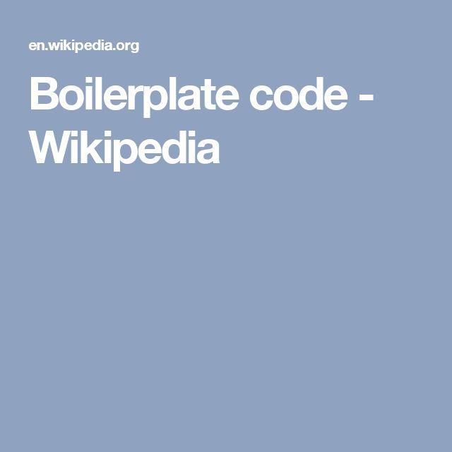 Boilerplate code - Wikipedia