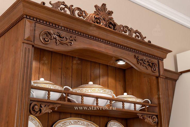 Фрагмент кухонной мебели, выполненной из массива дерева и украшенной резным декором. #дизайн A fragment of kitchen furniture made from solid wood and decorated with carved decor. #design