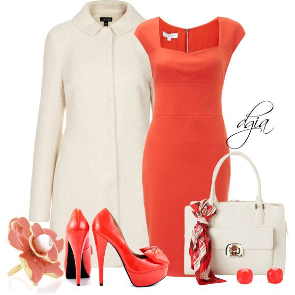 Coral Heels for Winter, created by dgia on Polyvore