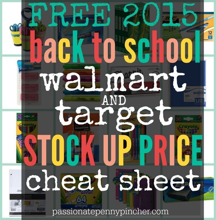 Free Back To School Walmart & Target Stock Up Price Cheat Sheet Back to School tips
