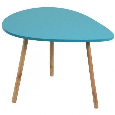 Turquoise teardrop table - a modern, bright idea to pair with a stripey rug maybe?
