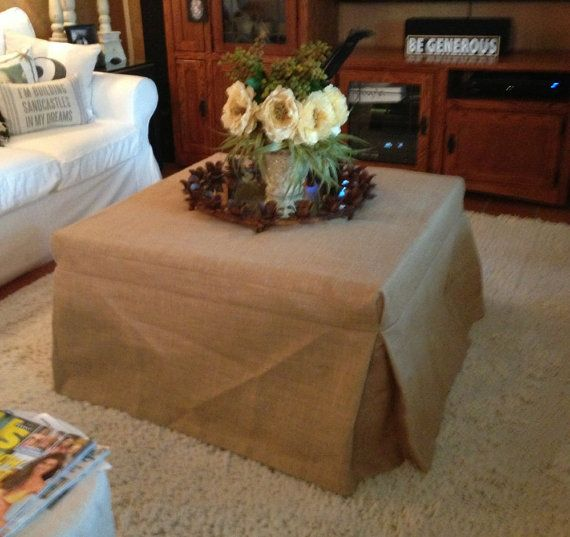 Natural Burlap Ottoman Slipcover has all the textures and imperfections of burlap that we all love. 100% jute. I like to line Burlap so it