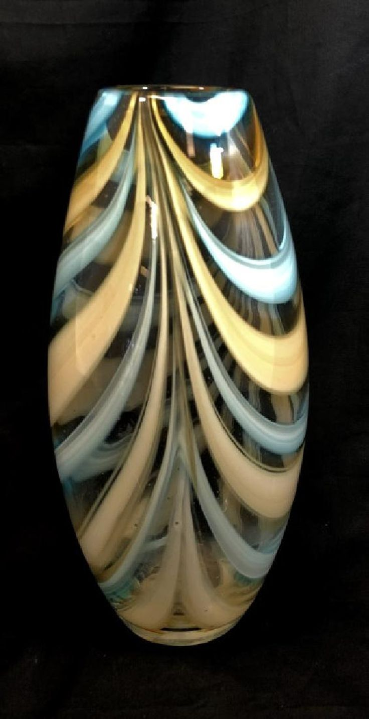 STUNNING MURANO PULLED LINES BLUE/YELLOW VASE