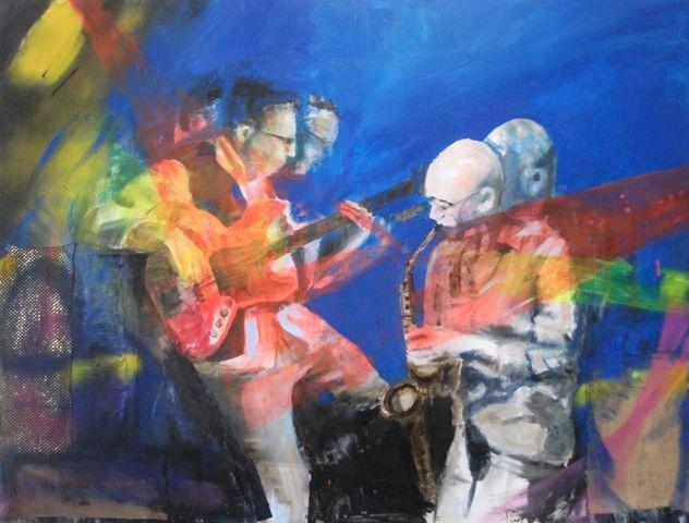 Panta rei - Olio su tela - cm.140x180 - musicisti jazz, dipinto con musicisti jazz