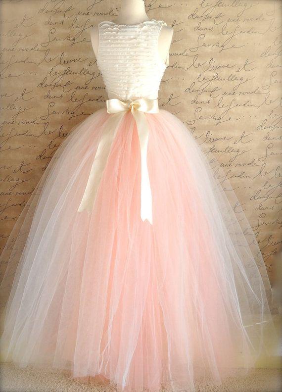 Full length blush tulle full length skirt.