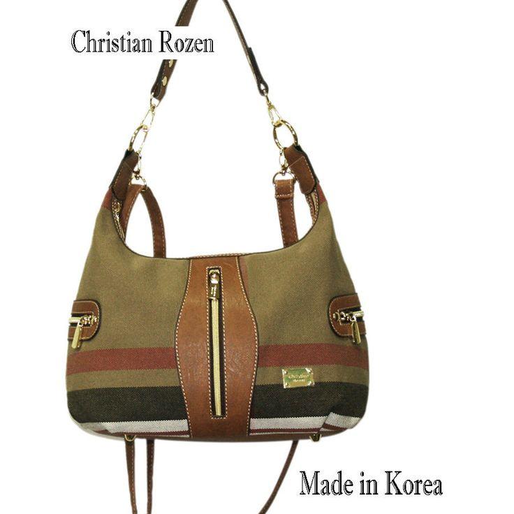 Christian Rozen Womens Fashion Shoulder Cross bag Color Brown-Red strife #KoreaChristianRozen #ShoulderBag