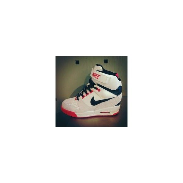 NIKE 'Air Revolution Sky Hi' Sneaker ❤ liked on Polyvore featuring shoes, sneakers, wedge trainers, wedge sneakers, nike, wedges shoes and nike footwear
