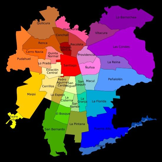 Mapa de santiago de chile buscar con google mapas for Calles de santiago de chile
