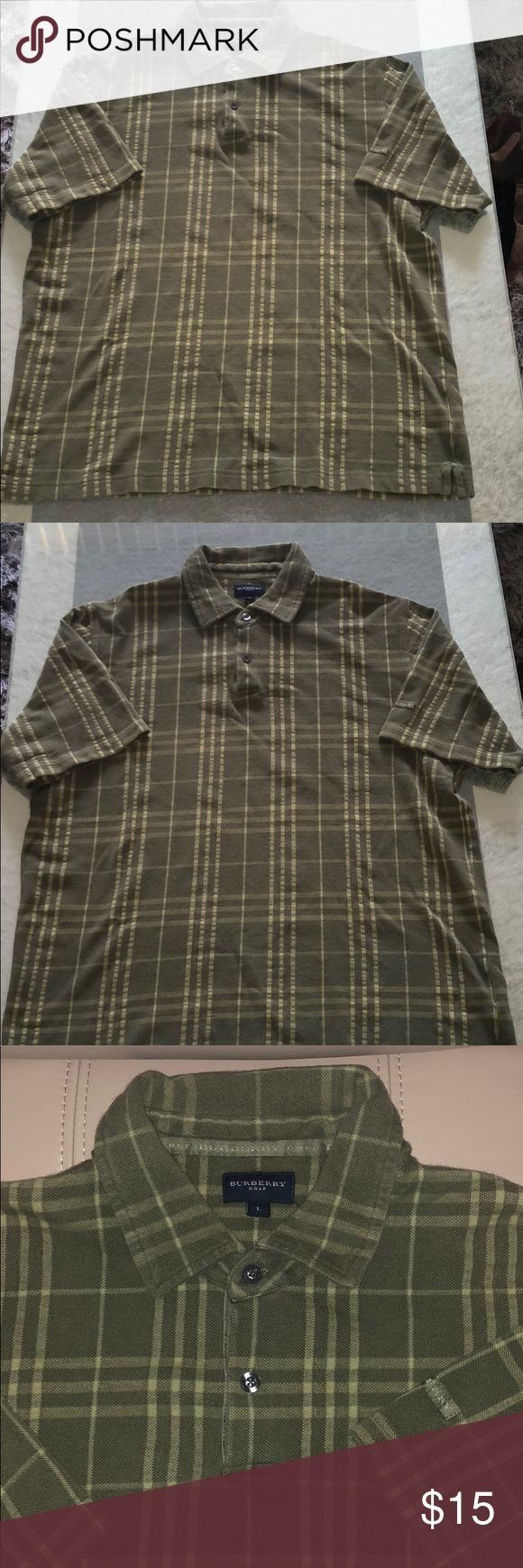 Burberry  polo shirt Men L olive green plaid Authentic Burberry golf polo shirt . Men size L . Short sleeve. Olive green checkered. Great addition for your Burberry collection. This shirt is preowned but plenty wear left . No stains , no tears . 100 % Cotton Burberry Shirts Polos