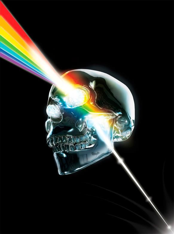 Prismatic Crystallin Skull, homage to Pink Floyd, pop art.