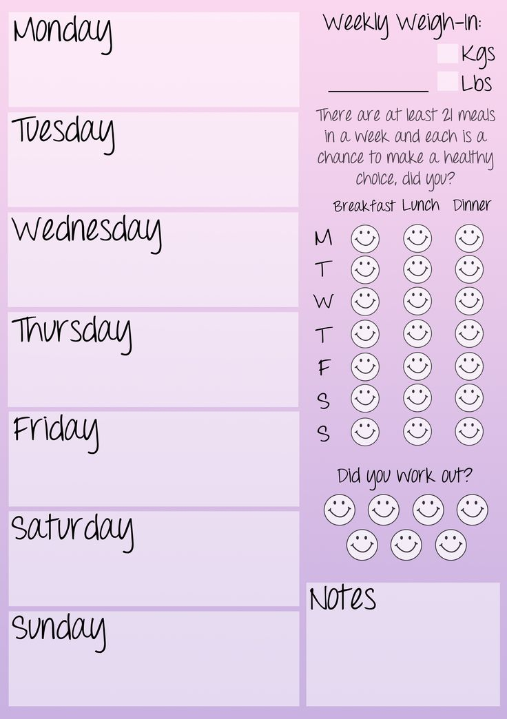 Weekly fitness journal printable!