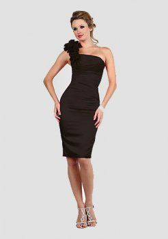 gaine de la mode une épaule genou longueur des robes de soirée courtes charmeuse