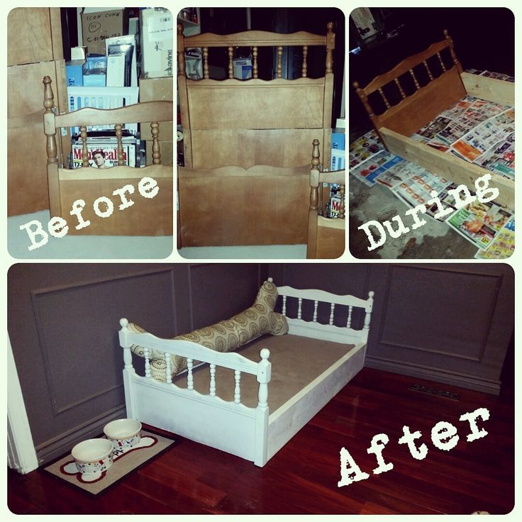 Great dog bed for a Large Breed made out of an old drop side crib. Just cut down the head and foot and add some wood on the sides for stability. Paint to desired color, drop a crib mattress in and there you have it :) Our dog loves his new bed and I love the fact that it looks like a chic piece of furniture.