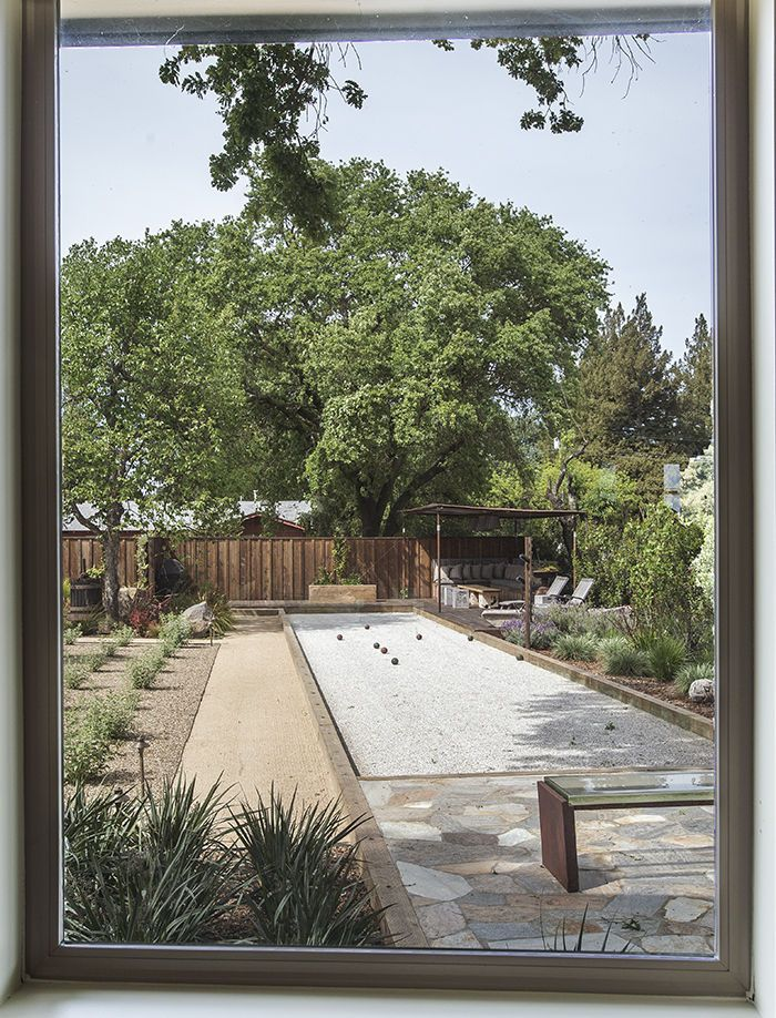 13x61. can these dimensions fit anywhere? i will chk if courts can be smaller. Bocce court and landscaping at the Stillwater Dwellings prefab in Napa