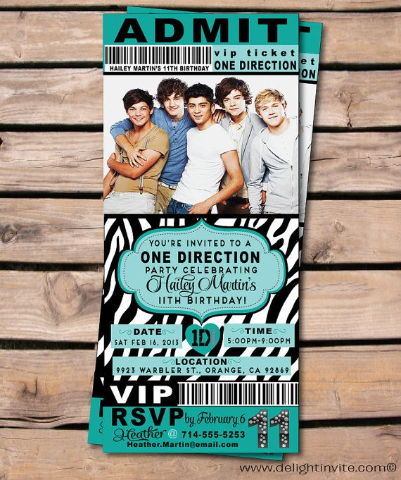 24 best One direction b day cards images on Pinterest Birthday - concert ticket birthday invitations