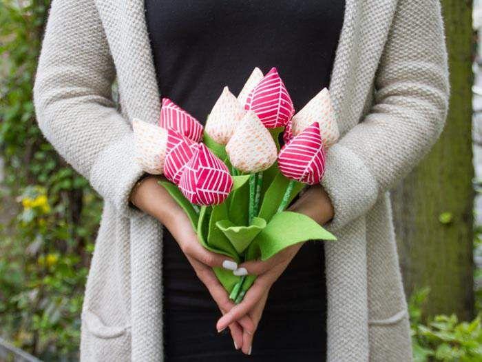 bouquet de tulipes en tissu