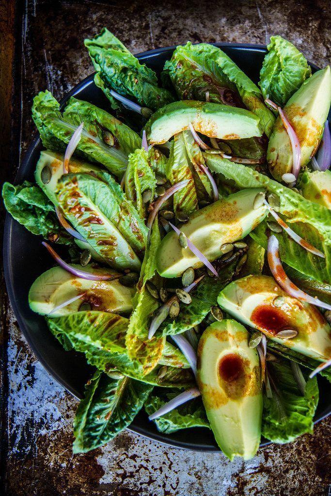 Smoky Romaine and Avocado Salad. So simple! Pair with our Pinot Grigio. #EccoDomani #PinotGrigio